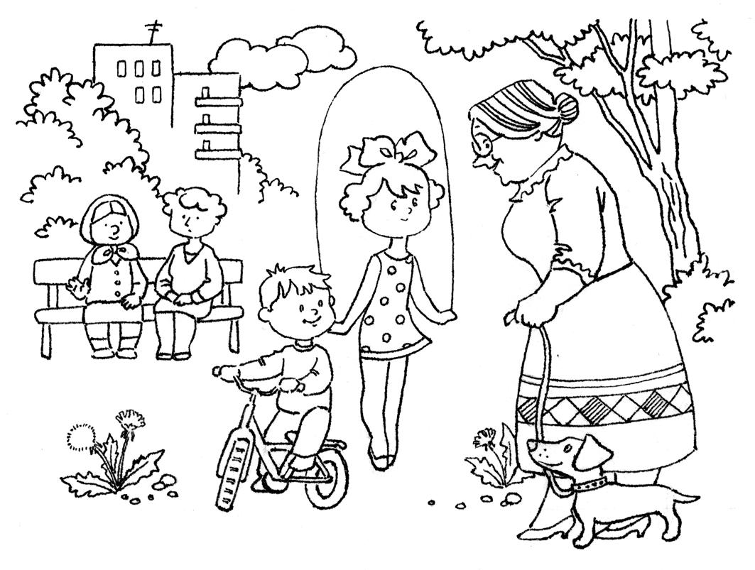 Раскраска ребенок на улице