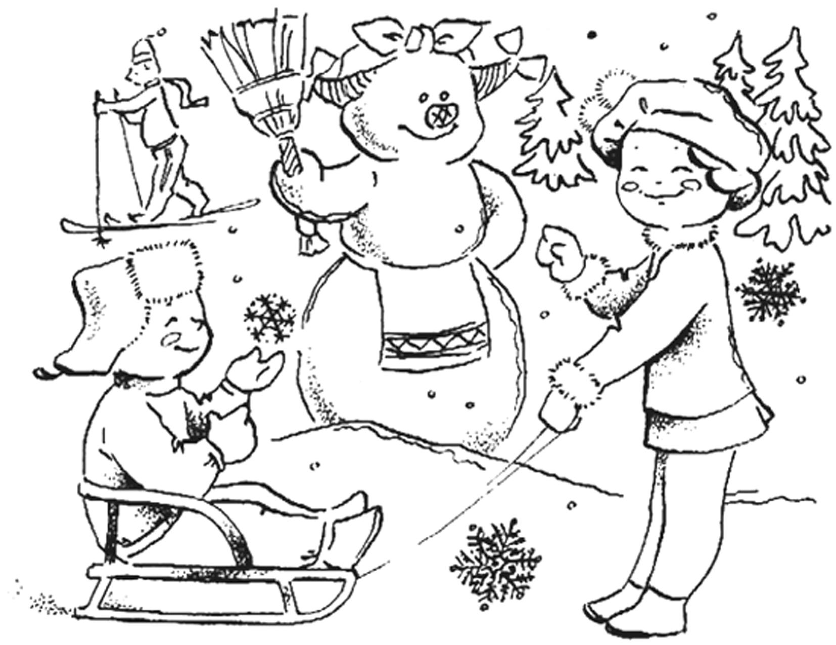 Раскраска девочка с мишкой
